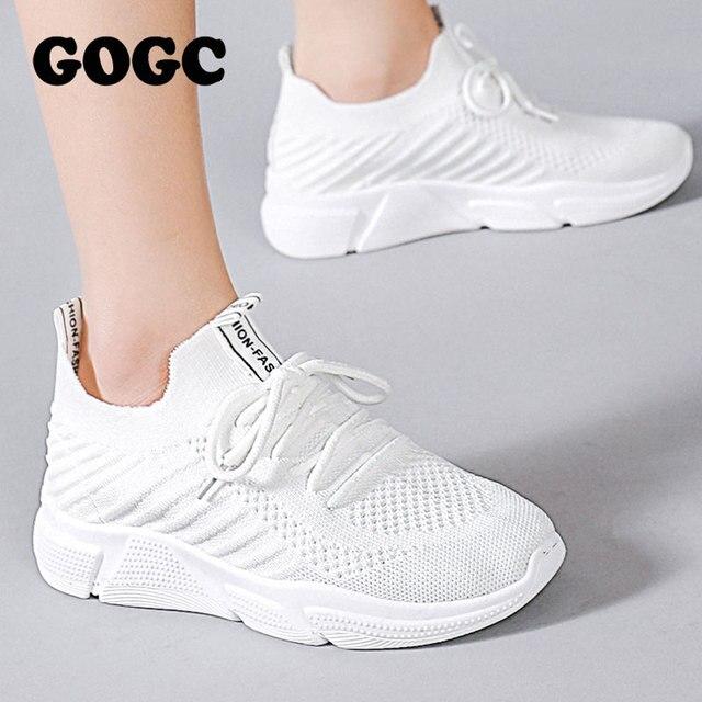 GOGC Nữ Nền tảng Giày Nữ Giày đế bằng nữ slipony người phụ nữ trắng Giày Thể Thao Nhân Quả cho nữ G682