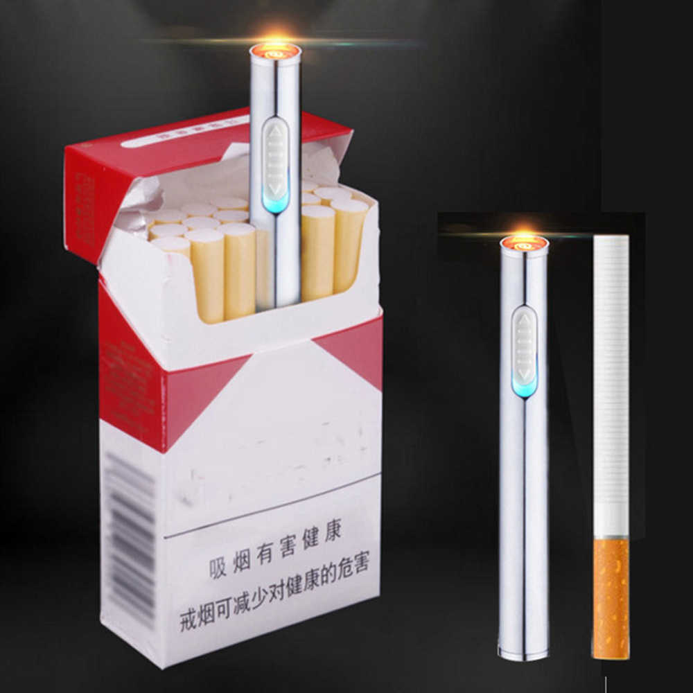 1PC Creative cigarette lighter metal shape long cigarette lighter USB charging cylindrical carry
