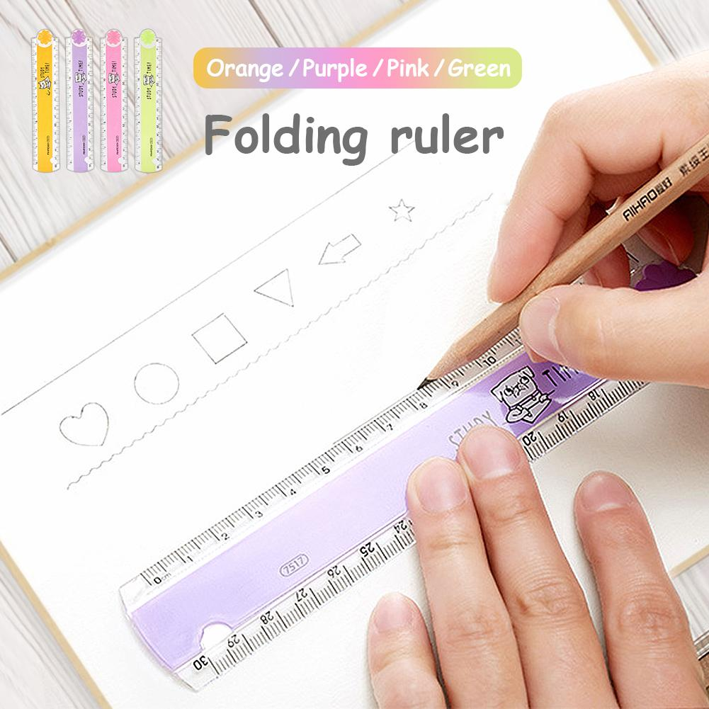 30CM Folding Ruler Cartoon Student Plastic Geometry Folding Ruler Color Random For Drawing School Stationery Students Kids Gifts