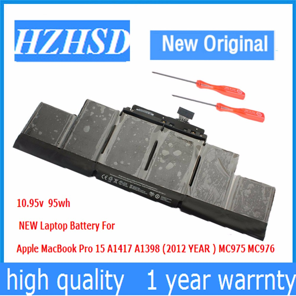 10.95v 95Wh New Original A1417 Laptop Battery for Apple MacBook Pro A1398 15 2012 2013 Retina MD831 MC975 MC976 original 15 a1398 lcd screen display 2012 2013 2014 for macbook pro retina 15 4 a1398 lcd panel lp154wt1 sjav replacement