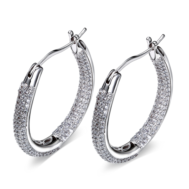 Brand New Design Fashion Hoop Earrings Made with AAA Cubic Zirconia Platinum Plated Free Allergy Lead Free