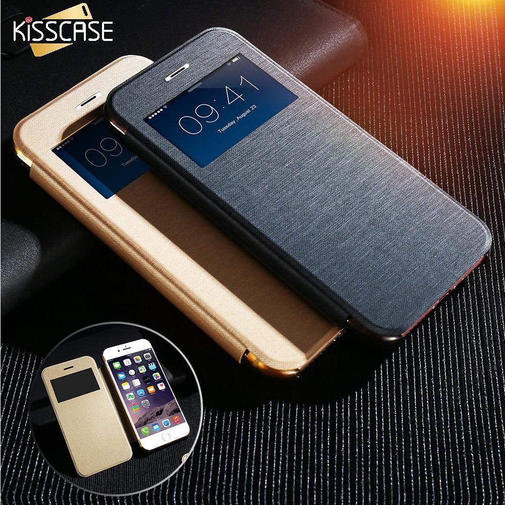 Kisscase cajas del teléfono ventana de visualización de cuero case para iphone 7
