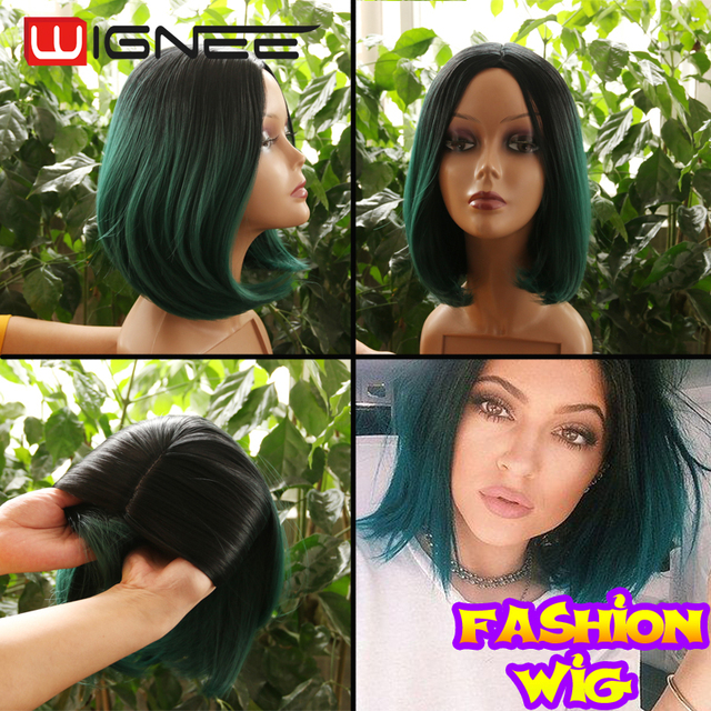 2016 New Arrival Ombre Bob Wig Adjustable Cap Size Synthetic Hair Wig Dark Root Green Burgundy Blonde Color Skin Top Cosplay Wig