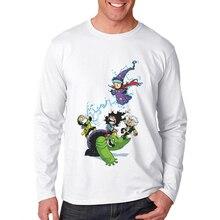 Fashion T Shirt Men Long Sleeve Super Hero Printed Male White T-Shirt Cotton Casual Mens Tee Funny Tshirt Poleras Hombre 2019