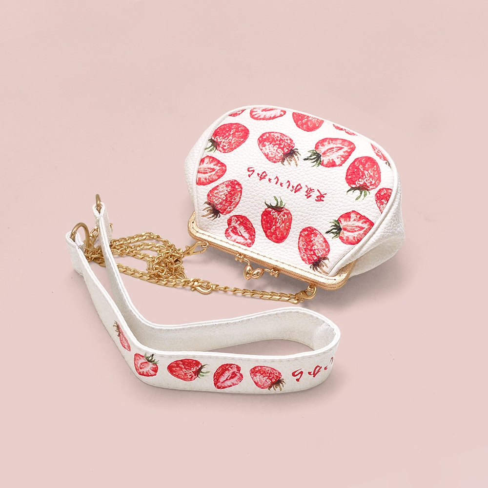 Princess sweet lolita bag Original Mini strawberry cute bag pack soft girl broadband satchel female Harajuku golden bag CC069 princess sweet lolita shoes royal harajuku pink strawberry bell cute bow round toe pumps for young girl custom color can choose