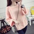 Mujeres Suéter 2017 Otoño Nueva Marca de Moda Pullovers Cálidos Colores Dulces de Alta Calidad tire femme Comodidad Suave Lana 956