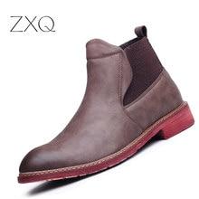 Мода Челси Сапоги Мужчины Британский Ретро Швейных Ниток Высокой Верхней Резинкой Кожа Мужчины Сапоги Черный Коричневый Мужчины Сапоги Обувь