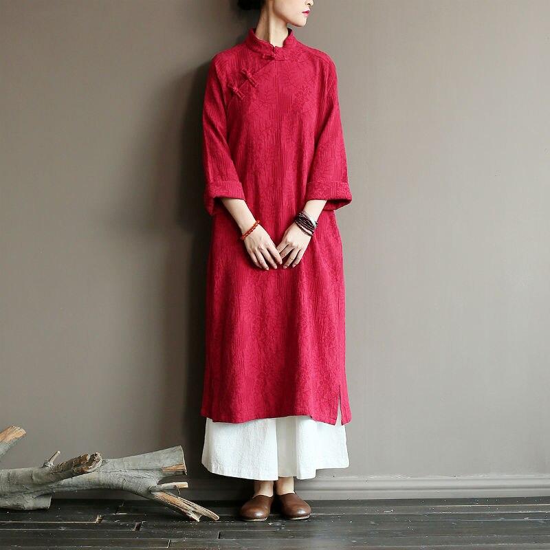 2019 décontracté femmes Robe d'été grande taille femmes vêtements d'été Robe en lin Vintage à manches longues Robe Maxi robes en coton