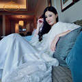 Free Shipping New Winter Women's Long White Robe Sleepwear Royal Lace  Princess Nightgown