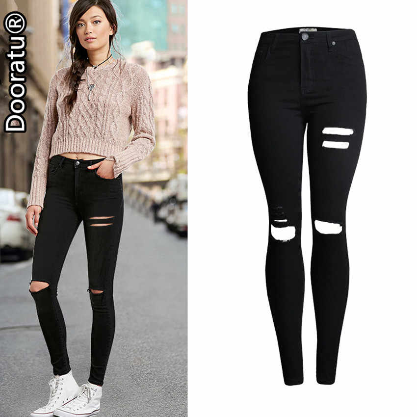 9b0593ef6e8 Dooratu 2017 New Fashion Summer Women High Waist Casual Slim Solid Black  Jeans Ladies Ripped Hole