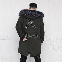 2019 Men Winter Thicken Jacket Men Casual Cool Parkas Solid Big Pocket High Quality Fur Collar Hoodie Male Coat Plus Size M 3XL