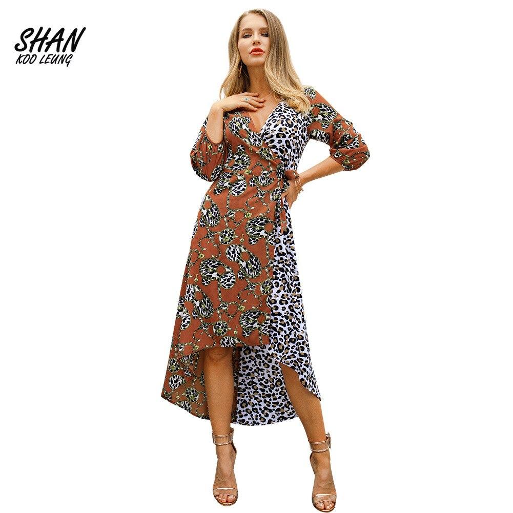 Robe femme asymétrique mi-mollet robes imprimé léopard col en v robes Sexy soirée boîte de nuit robe dame Bandage Streetwear