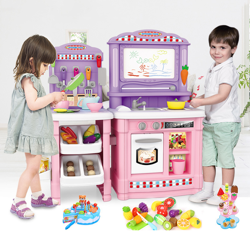 Children Artificial Kitchen Toys Set Girl Cooking Play House Game Educational Toy Have Running