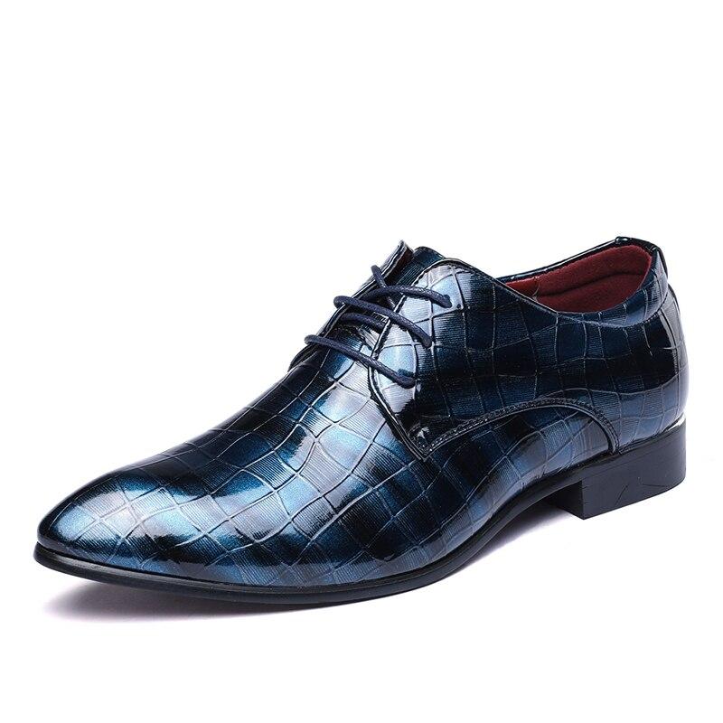 azul De 47 Cuero Moda 38 Negro Oficina Hombres Punta La Zapatos Los Calzado Planos Tamaño Casuales rojo Clásico 6Xxq6wa