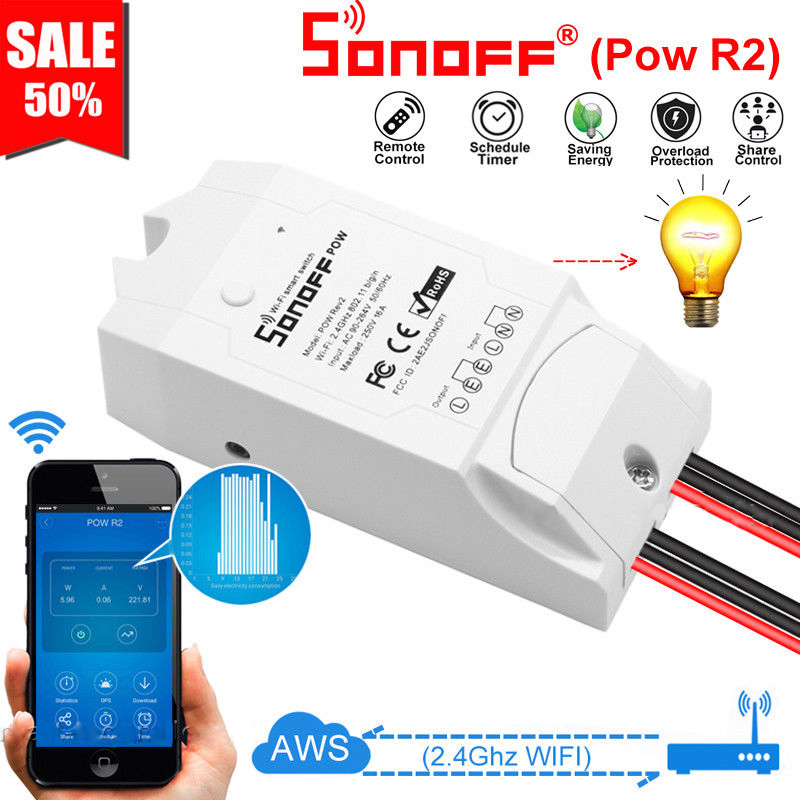 Sonoff POW R2 Smart Wireless WiFi Switch 16A With Real Time Power Consumption Measurement Compatible With Alexa Google Home
