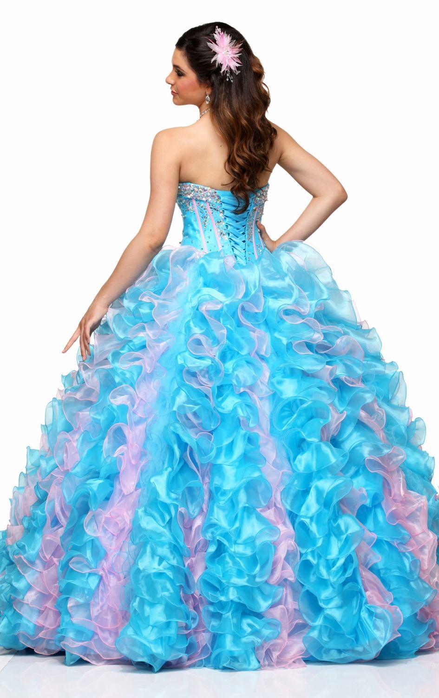 2017 Beading Quinceanera Dresses Light Blue Ruffles Luxury Crystal ...