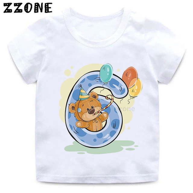 Online Shop <b>Boys</b>/<b>Girls</b> Birthday Bear Number 1-9 Bow Print T shirt ...