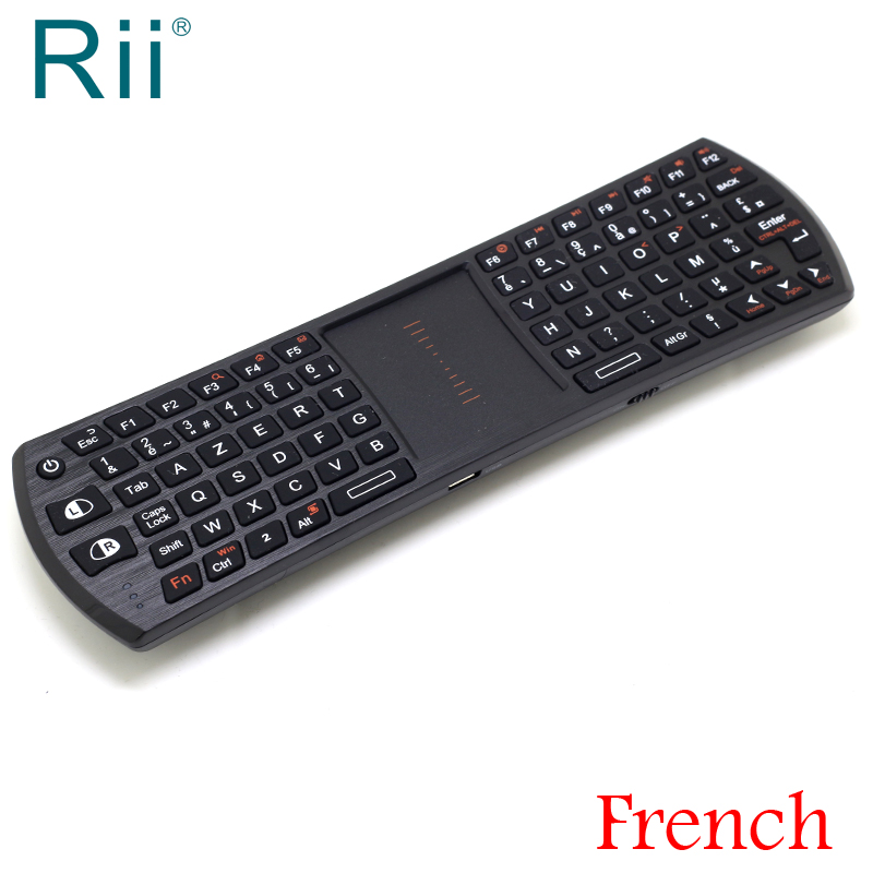 [Free DHL] Original Rii I24T Mini 2.4G Wireless French Keyboard+TouchPad Mouse For Andorid TV Box/IPTV/PC High Quality - 50pcs