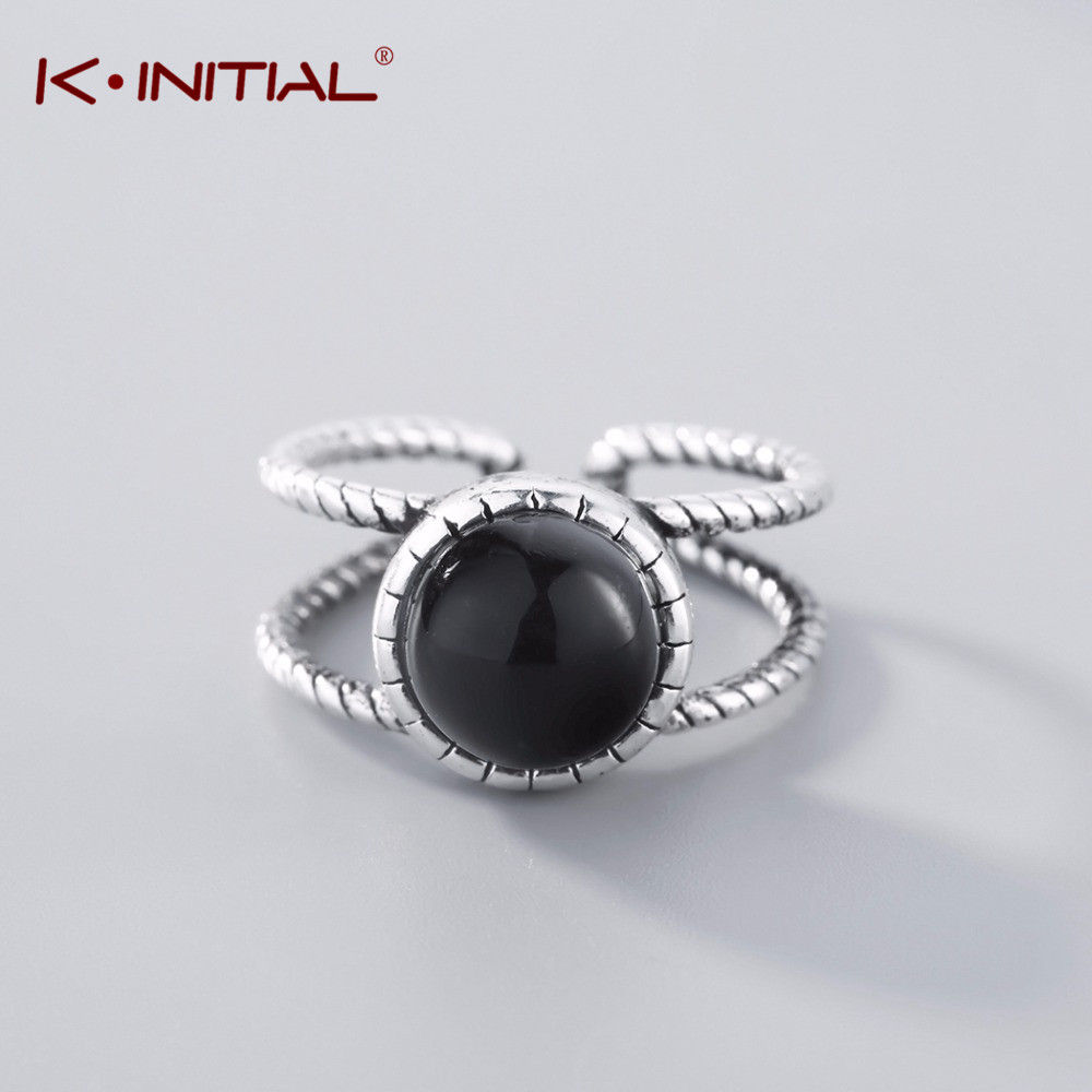 Kinitial Vintage Big Black Stone Rings For Women Two Twisted Line Ring Antique Silver Knuckle Party Gifts Statement Jewellery