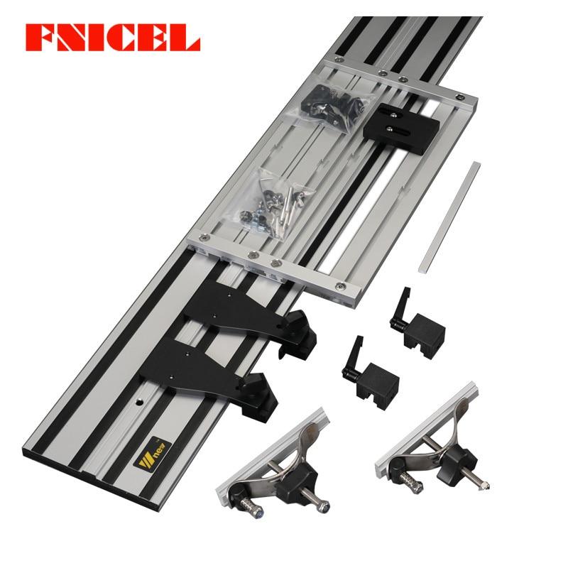 Rail de guidage droit universel à Double plate-forme pour Machine à sculpter électrotrephine avec Base de scie réglable pour outils de bricolage pour le travail du bois