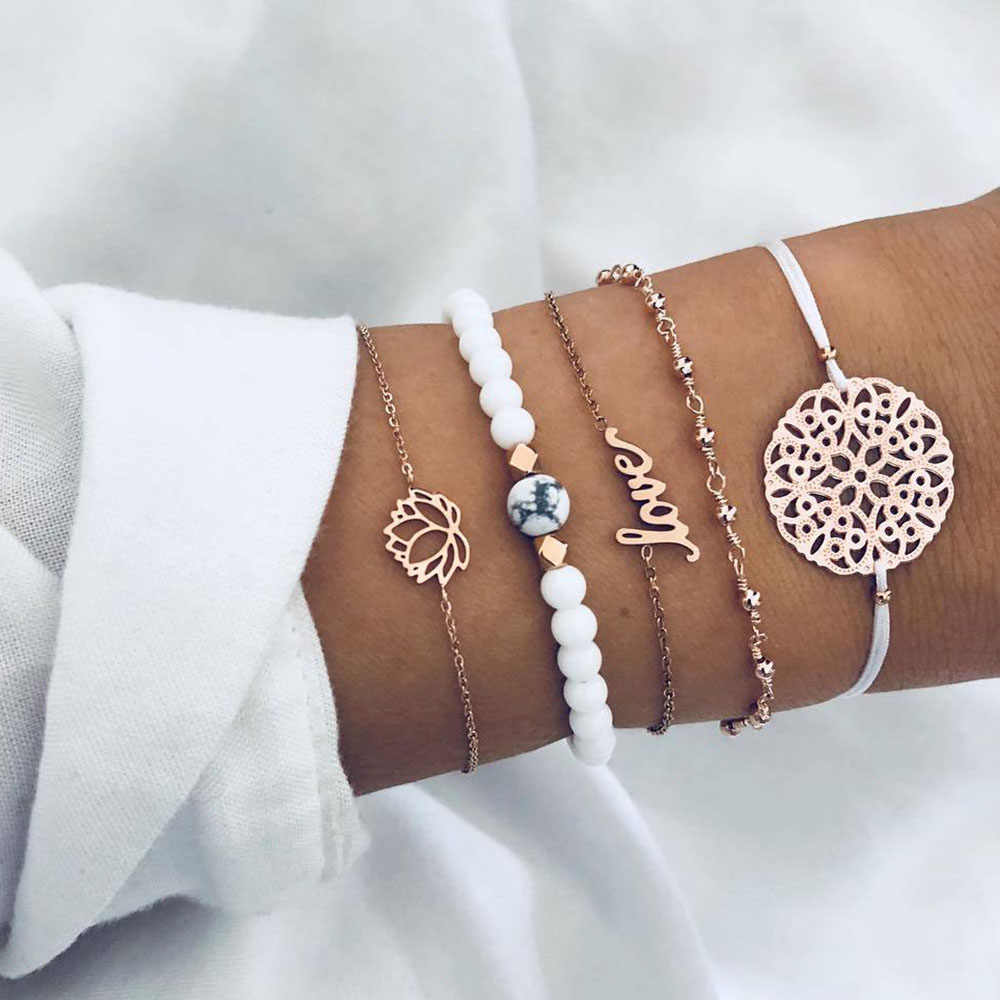 FAMSHIN Vintage Heart Charm Bracelets Set For Women New Bohemian Turtle Shell Tassel Beads Bracelet Female Fashion Jewelry Gifts