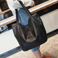 2019 Spring New Women Big Black PU Leather Handbags Rivet Tote Bags For Female Brand Designer Shoulder Bags A016