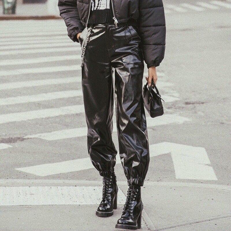 Loose Leather Cargo   Pants   with Chain Women's   Wide     Leg     Pants   2019 Autumn Zipper Streetwear Hip Hop Elastic Waist Trousers Female