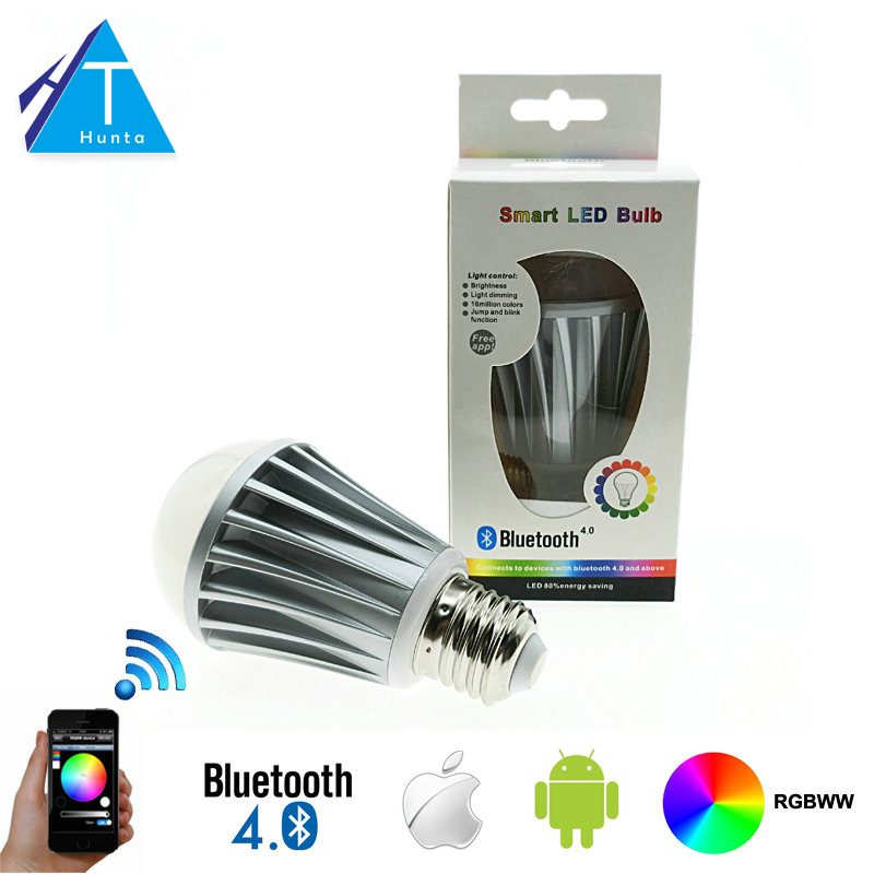 LED Bulb Bluetooth 7.5W E27 RGBW Magic Bluetooth 4.0 Smart LED Lighting Lamp Color Change Dimmable by IOS / Android APP smart dimmable mushroom led bulb household intelligent lighting rgb e27 600lm ac85 265v switchable for ios and android