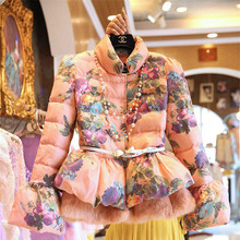 Autumn And Winter New 2016 Women Print Slim Fashion Style Down Jacket Stand With Beading And Sashes Sexy Skirt Coat Beauty