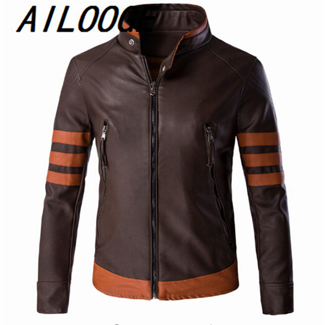 2c7aa19c7a25 Wolverin Jacket Zip Slim Fit Faux Leather Biker Jacket Male Winter Brown  Vintage Motorcycle Leather Jackets Men Plus Size 5XL