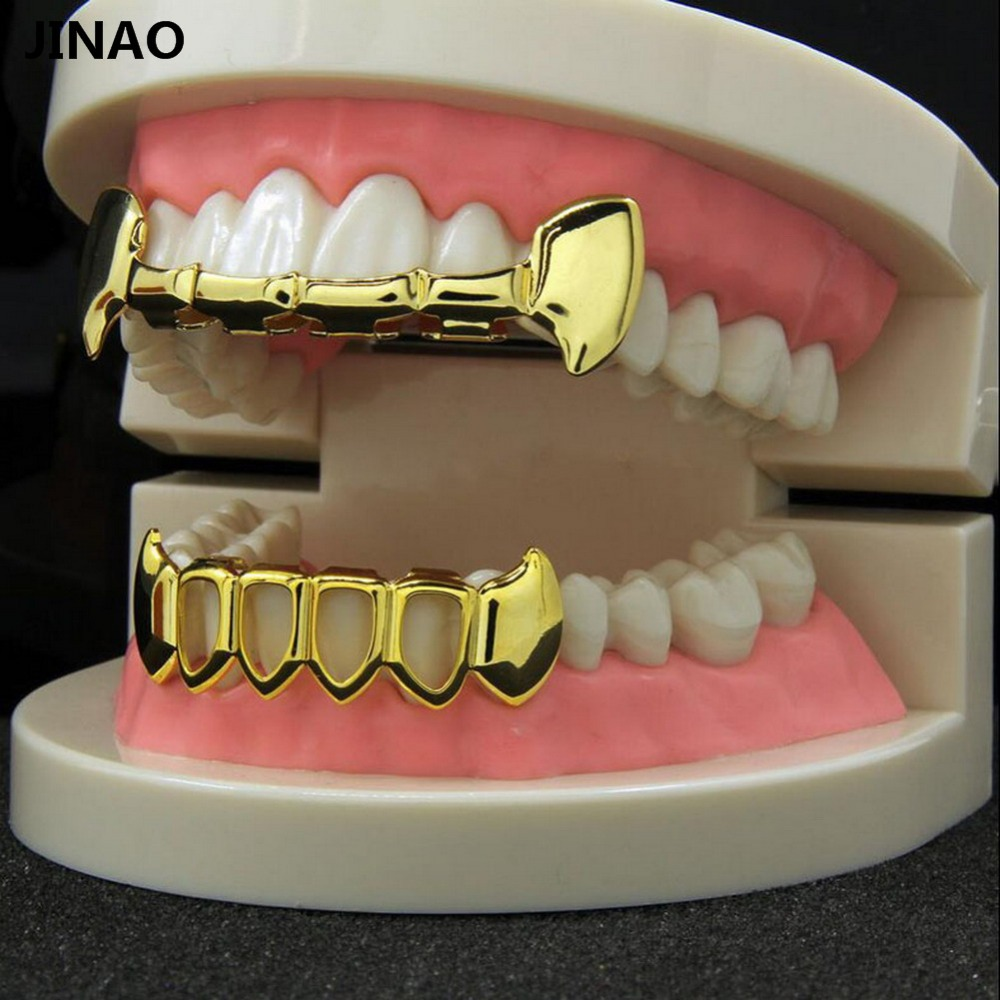JINAO pure Gold Color Plated Hip Hop Teeth Half Fang Slim