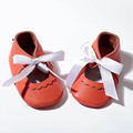 2017 Shallow Baby Girl Shoes Genuine Leather Baby Moccasins Soft Infant Toddler Shoes with White Bowknot for 0-24M