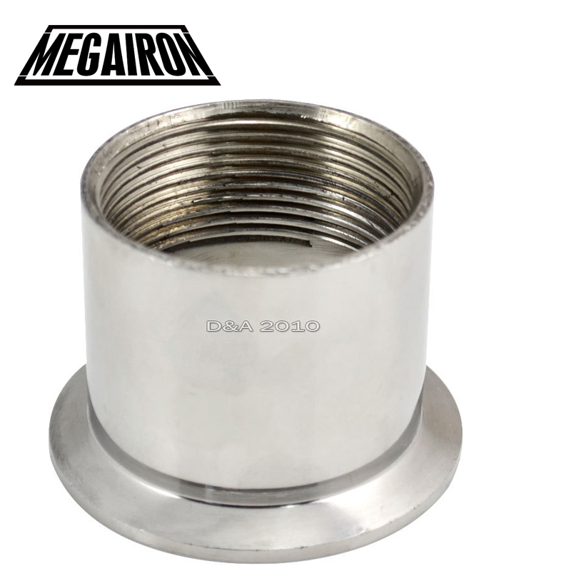 MEGAIRON 1-1/2 DN40 Stainless Steel SS316 Sanitary Female Threaded Pipe Fittings Ferrule OD 64mm fit 2 Tri Clamp megairon 1 set 1 1 4 dn32 stainless steel ss316 sanitary female threaded ferrule od 64mm 2 tri clamp gasket
