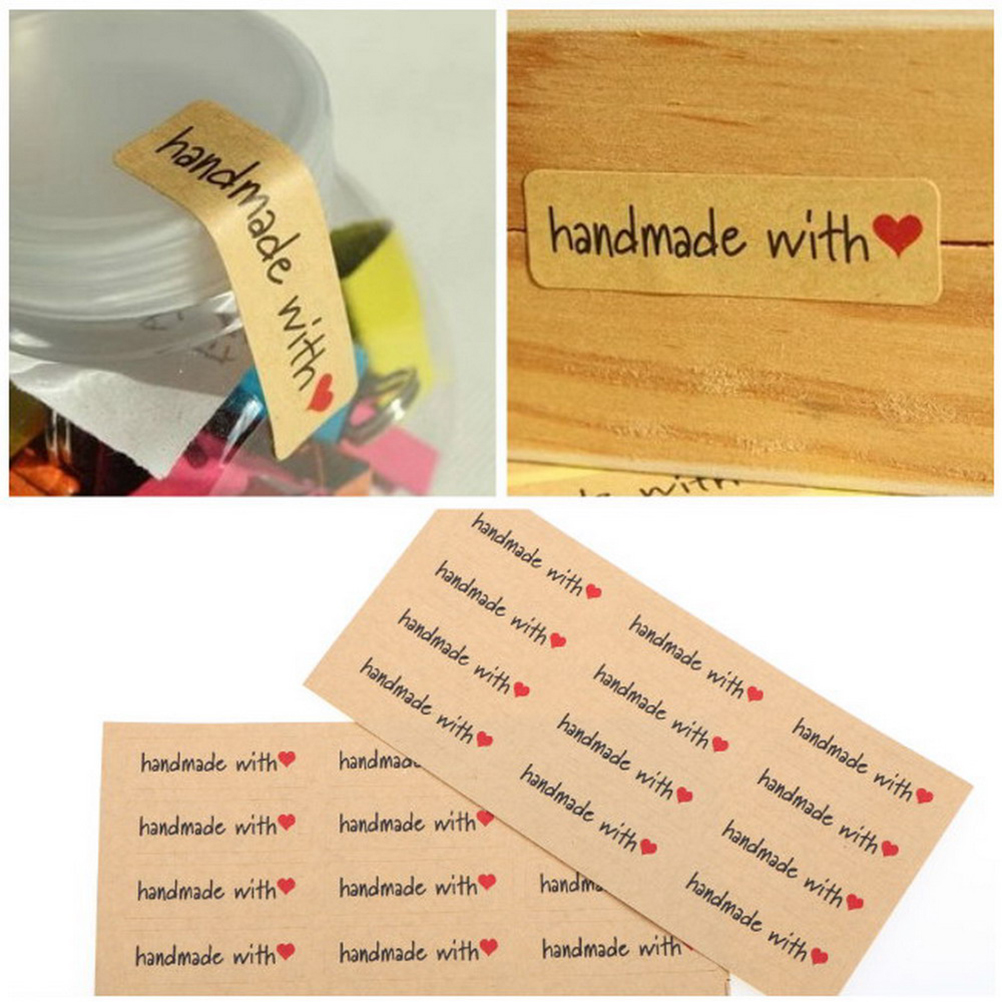 Stationery Stickers Steady 100pcs/lot Hand Made With Heart Packaging Sealing Label Kraft Sticker Baking Diy Work Rectangle Gift Stickers 45*13mm