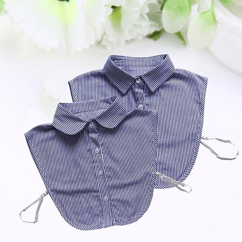 Droppshiping Men Women Shirt False Fake Collar Detachable Lapel Blouse Top Sweater Striped Cotton Neckwear Clothes Accessories D