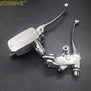 Image 3 - ZORBYZ 7/8 22mm Chrome Lenker Control Reservoir 14mm Bohrung Bremse Kupplung Hebel Für Kawasaki Honda Yamaha Suzuki