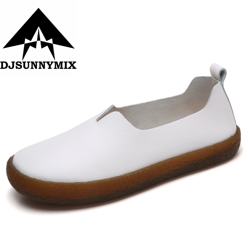 DJSUNNYMIX Plus size 35-43 Genuine Leather Shoes Soft Women Shoes Flats Moccasins Slip on Loafers Fashion Casual Ladies Footwear new fashion luxury women flats buckle shallow slip on soft cow genuine leather comfortable ladies brand casual shoes size 35 41