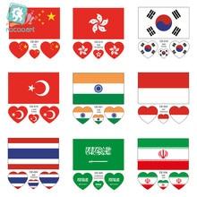 The latest Asian flag , China, Korea, Turkey, India, Thailand, Iran, Saudi Arabia and Indonesia,face  temporary tattoo stickers afc asian cup 2019 iran iraq
