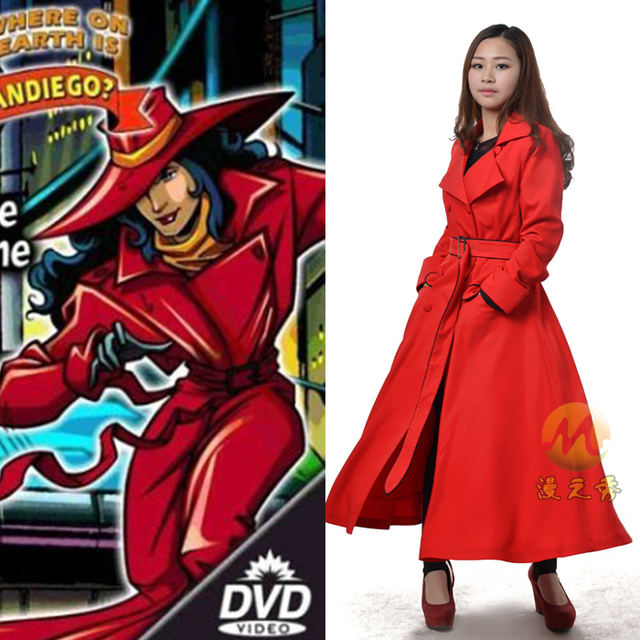 Carmen Sandiego Cosplay Costume Red Trench Coat Cosplay Costume ...