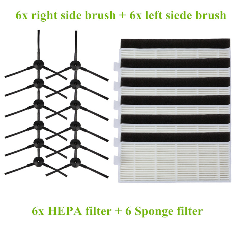 6x Left side Brush + 6 Right Side brushes + 6x HEPA Filter + 6x Sponge replacement for Chuwi ilife A4 Vacuum Cleaner parts 6x left side brush 6 right side brushes 6x hepa filter 6x sponge replacement for chuwi ilife a4 vacuum cleaner parts