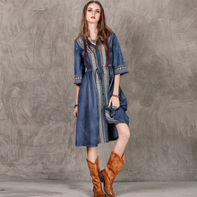 2017 V-neck Geometric Vintage Dress Women Single-breasted Drawstring Slim High Waist Jeans Denim Casual Dresses #170332