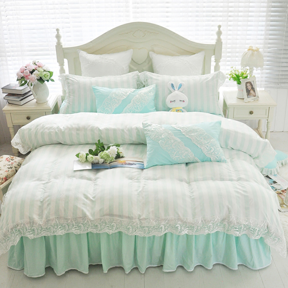 Korean Princess Style Lace Design Stripe Floral Duvet Cover Bed Sheet Set  100%Cotton Fabric Pink/Khaki/Green Girl Bedding Set In Bedding Sets From  Home ...