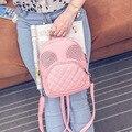 Микки уши mochila мода pu кожаные рюкзаки для Девочки милые мышки Заклепки дизайн женщины рюкзаки корея мини туристические рюкзаки