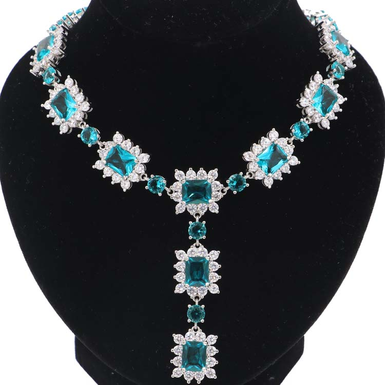 Stunning 60 5g Rich Blue Aquamarine White CZ Woman s Gift Silver Necklace 17 18inch 70x18mm