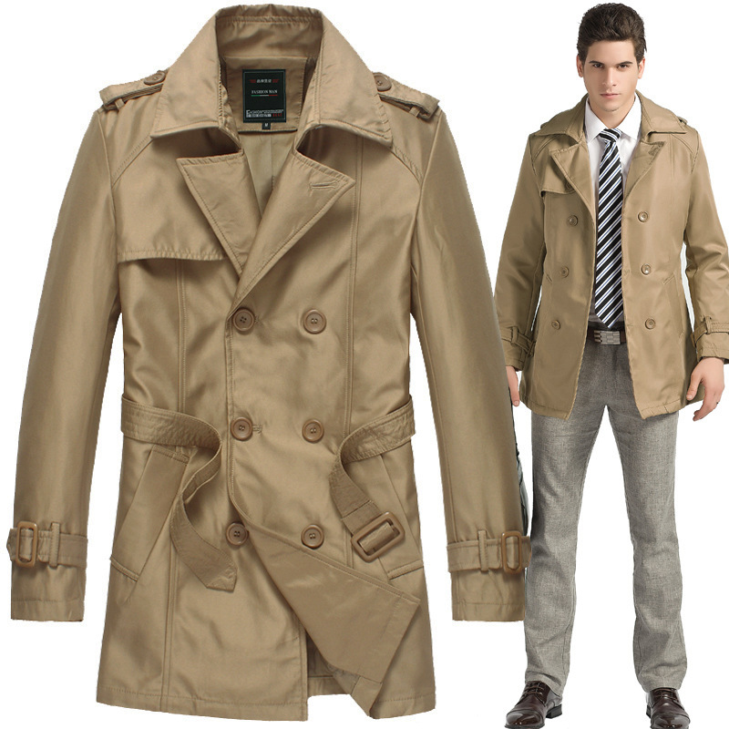Men's Mid Length Trench Coats Khaki Black Solid Slim Cardigan ...