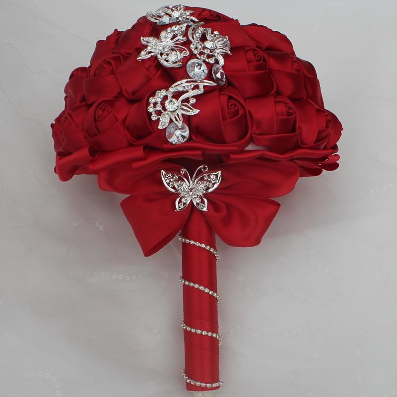 WifeLai-A 1pc Vin Röd Silke Rose Fjäril Diamanter Brosch Bröllop - Bröllopstillbehör - Foto 2