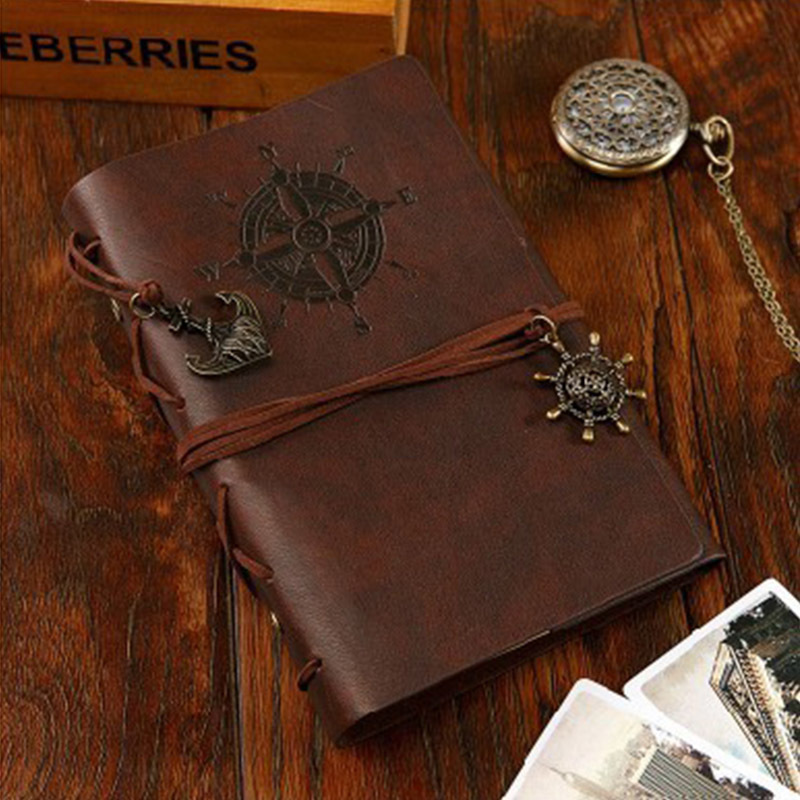vintage PU leather pirate travel diary book retro spiral notebook notepad stationery office school supplies l duchen мужские швейцарские наручные часы l duchen d 161 41 23