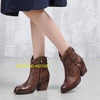 Женская обувь 2018 осень ручной винтажные тонкие Ботинки женские кожаные подлинность Женские ботинки меховые сапоги