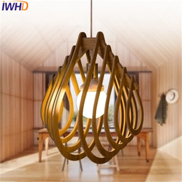 IWHD Modern Led Pendant Lights Wood Iluminacion Creative Kitchen Pendant Lamp Lighting Fixtures For Restaurant Dining Room Lamps