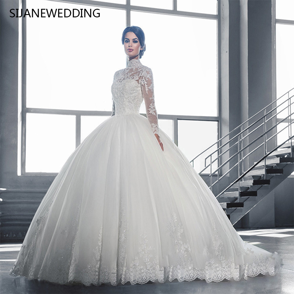 Robe De Soriee New Simple Wedding Dress Full Sleeve Lace: SIJANE Full Sleeves See Through Ball Gown Wedding Dresses